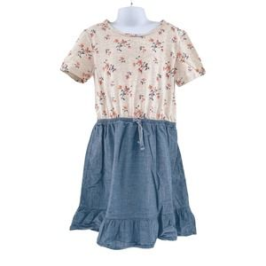 GAP Kids Floral Chambray Dress Short Sleeve Large